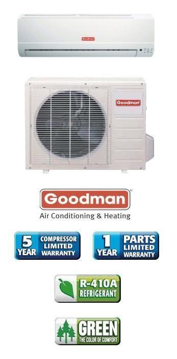 000 Btu 13 Seer Goodman Single Zone Mini Split Air Conditioner System