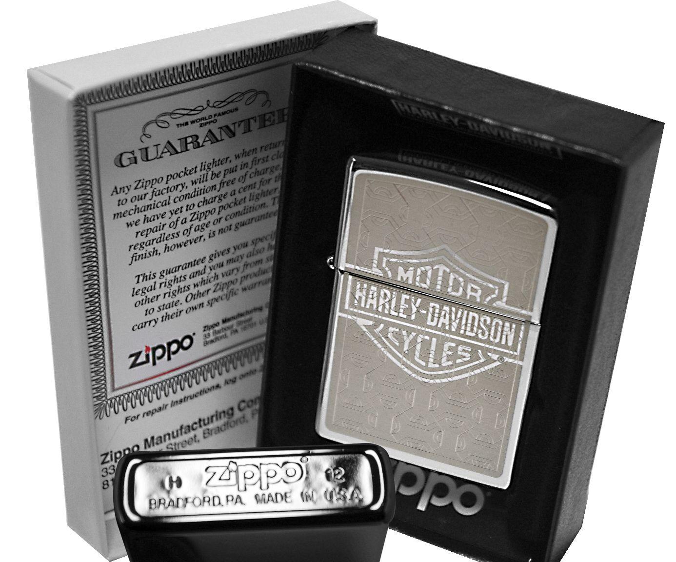 Zippo Lighter 28083 Harley Davidson High Polish Chrome New