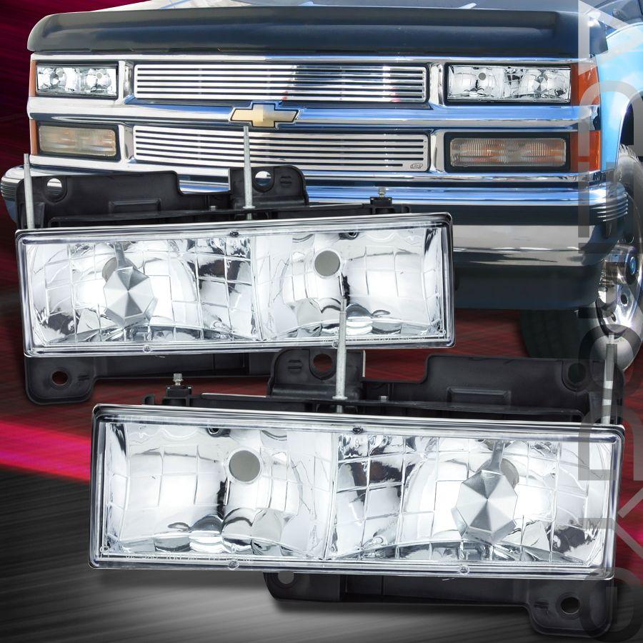 1992 19999 Chevy GMC Suburban Ykon Pickup Truck Chrome Head Lights