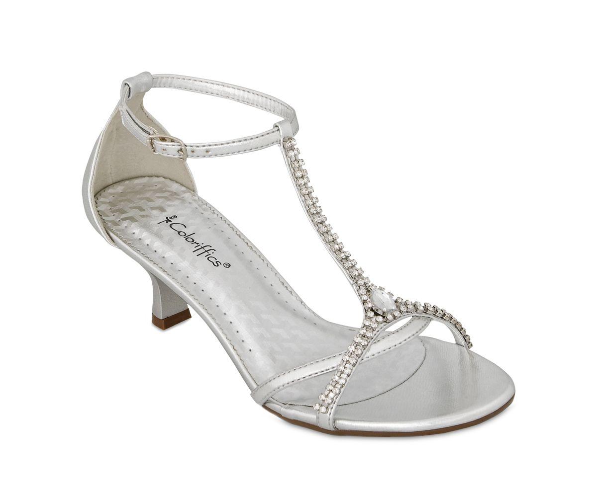 Silver Metallic Rhinestone Low Heel Dress Shoes