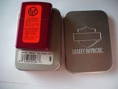 harley davidson red pink rose zippo lighter org case