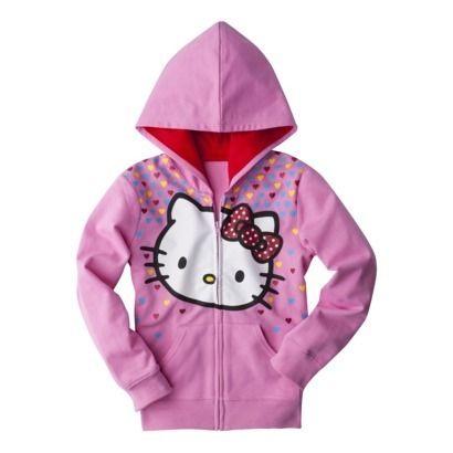 Hello Kitty Girls Mini Heart Zip Up Hoodie Pink Hooded Sweatshirt sz