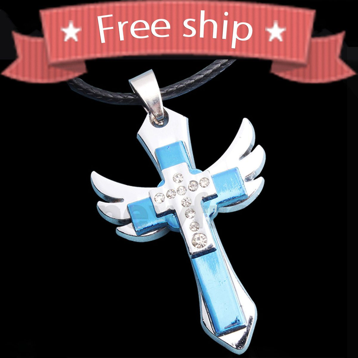 New Fashion Angel Wings Holy Cross Pendant Necklace Titanium Steel Hot