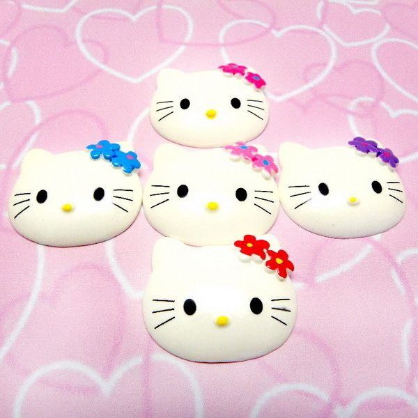 6x Cute Hello Kitty Flower Big Kawaii Resin Flatback Scrapbooking
