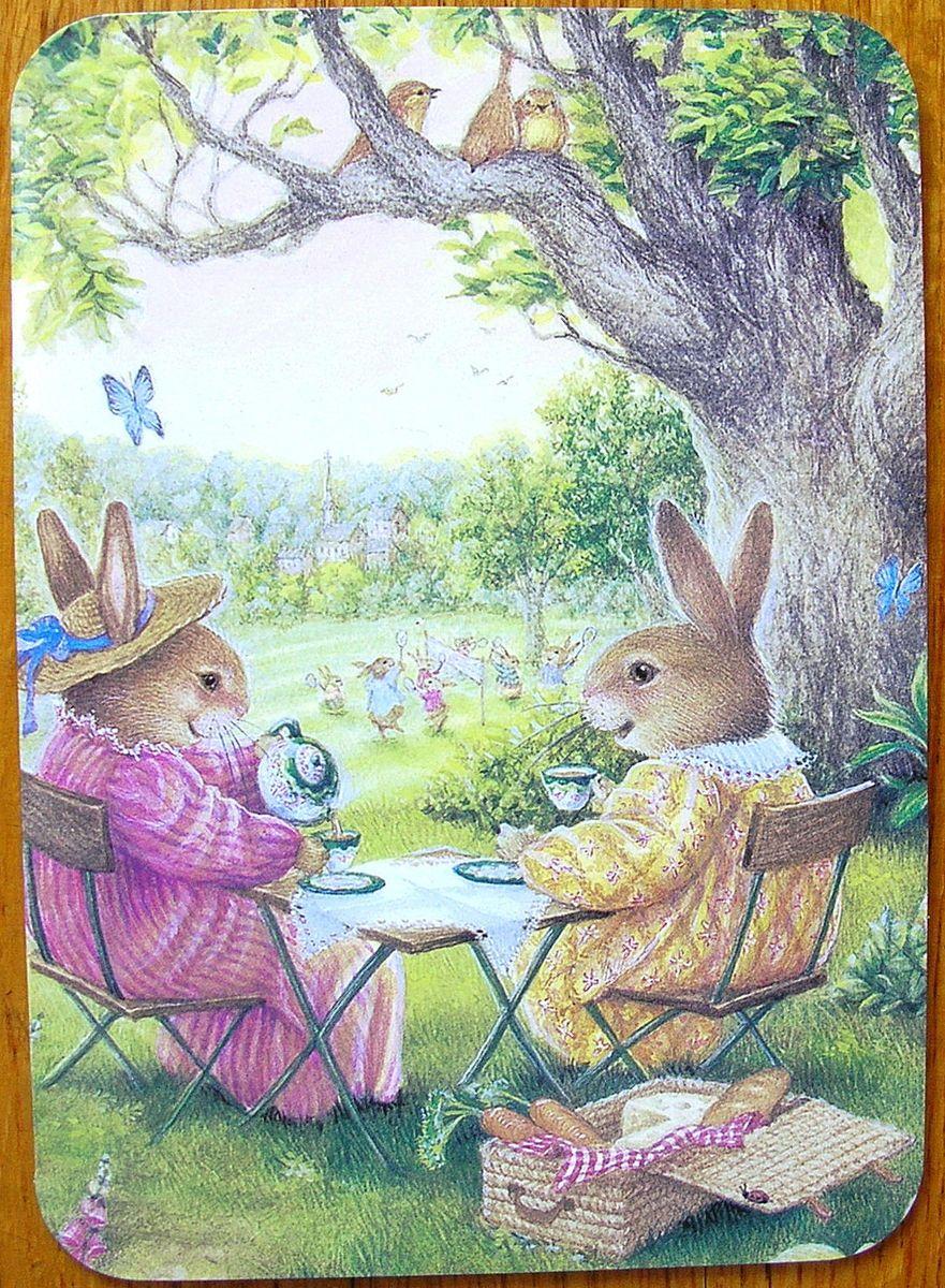 Susan Wheeler Holly Pond Hill Bunny Rabbit Tea Cup Picnic Birthday