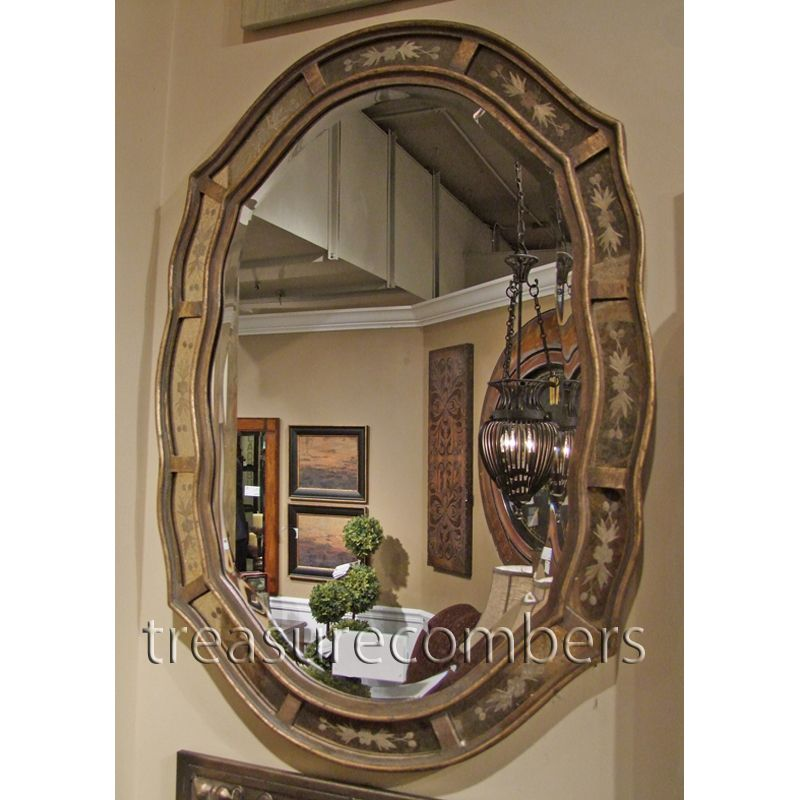 Horchow Etched Oval Wall Mirror Antiqued Gold Leaf Venetian Beveled