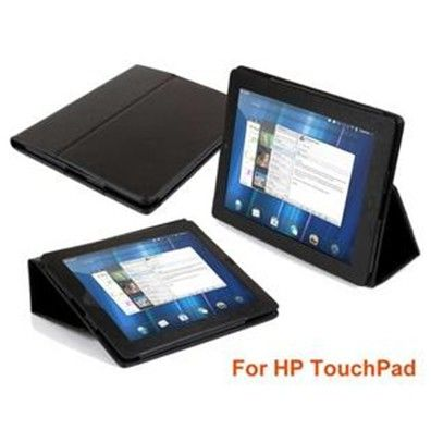 Black Leather Case Cover Stand for HP Touchpad Film