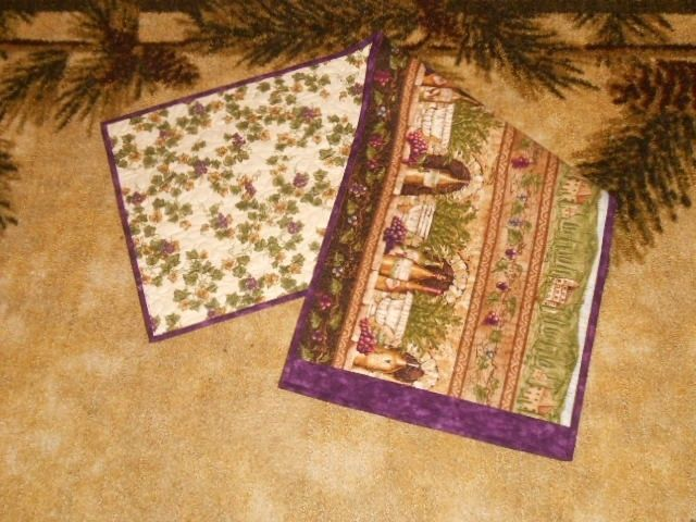 Handmade Quilted Table Runner Wine Grapes Winery Italian Reversible