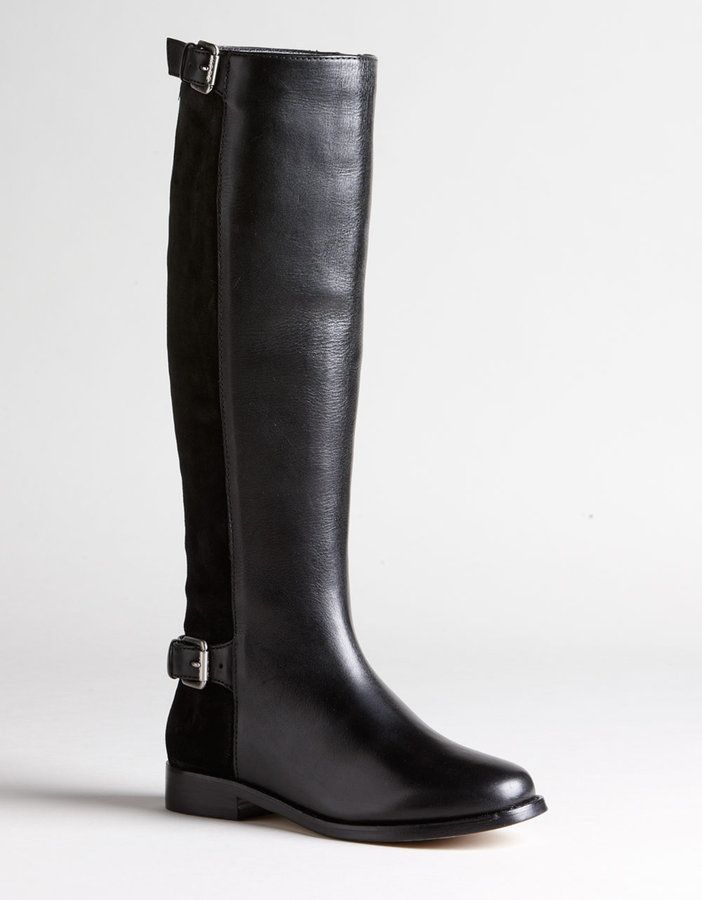 Michael Kors Jada Tall Knee Black Leather and Suede Boots Size 6 New $