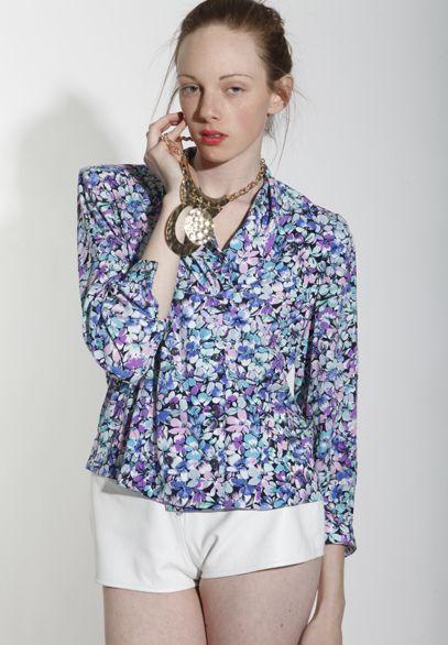 Vtg 80s Floral Bold Draped MIDI Blouse Top Secretary Long Sleeve
