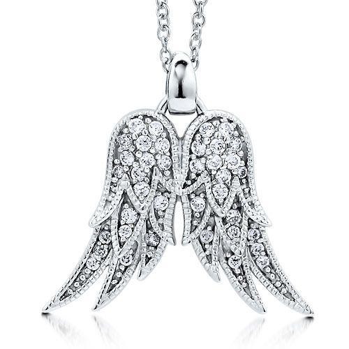 Sterling Silver 925 CZ Angel Wings Pendant Necklace