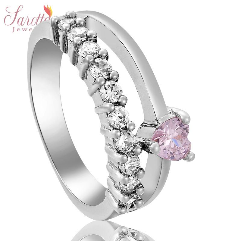 SAROTTA JEWELRY GIFT PINK SAPPHIRE 18K WHITE GOLD PLATED GP RING LADY