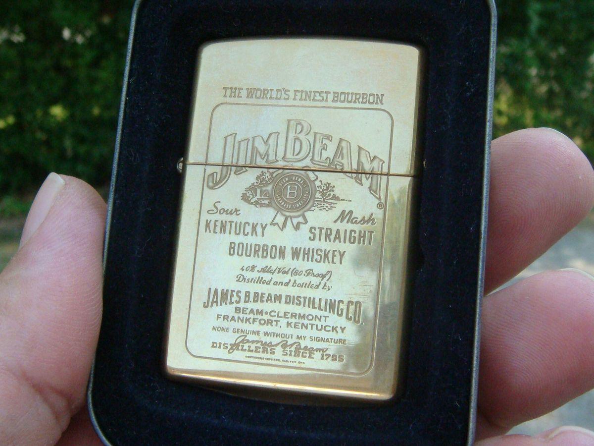 XX Brass Jim Beam Label KY Bourbon Whiskey Zippo Lighter Original Case