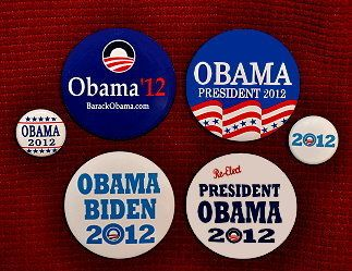 Barack Obama President 2012 Six Buttons Pins Joe Biden Democratic Colorful New