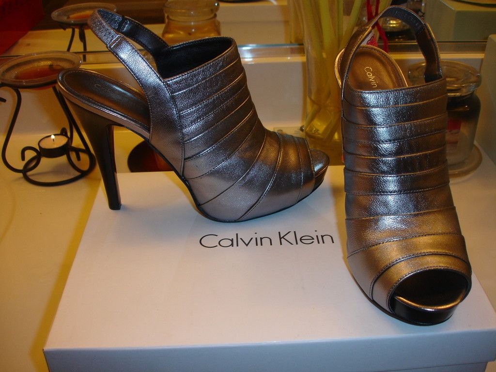 Calvin Klein Kaylor Metallic Leather Wedding Prom