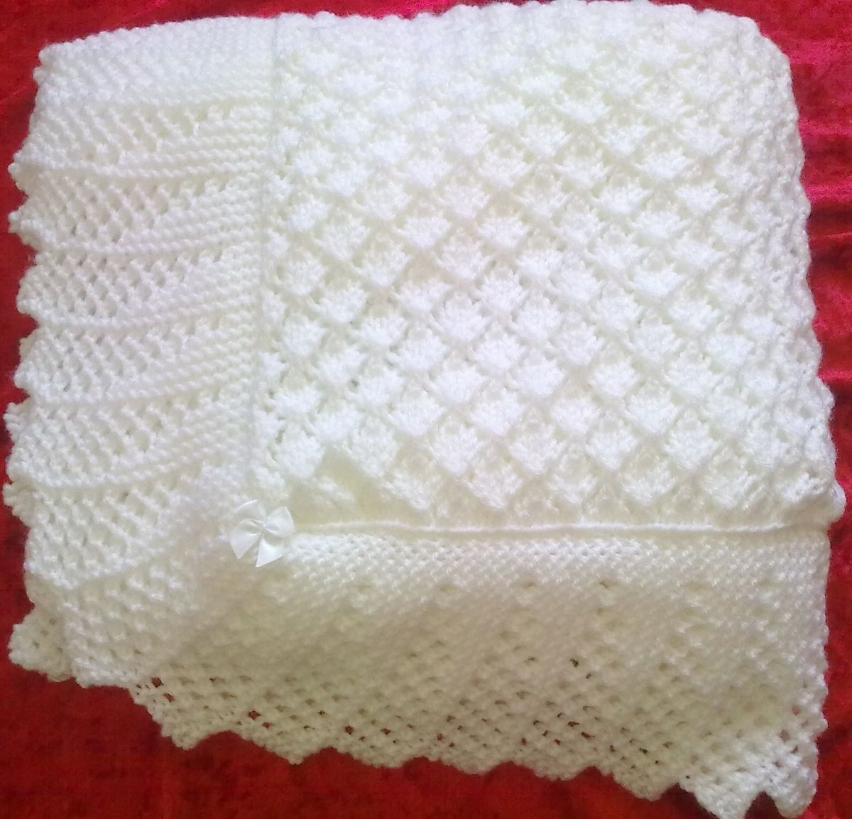 Knitting Patterns For Baby Shawls : Stunning New Hand Knitted Baby Shawl Blanket 36x36 Ins