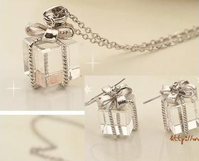 Korean Bow Gift Box Necklace Earrings Jewelry Set