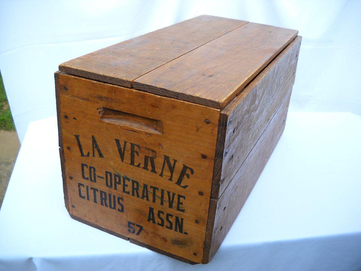 Old Vtg 1957 La Verne California CO OP Wood Wooden Orange Crate Box w