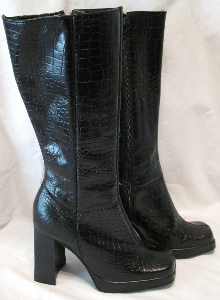 Steve Madden Latoya Black Leather Below Knee Croc Print Boots Size 8 5