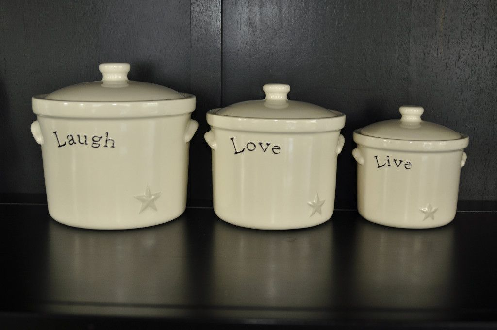Set of 3 Canisters Live Laugh Love