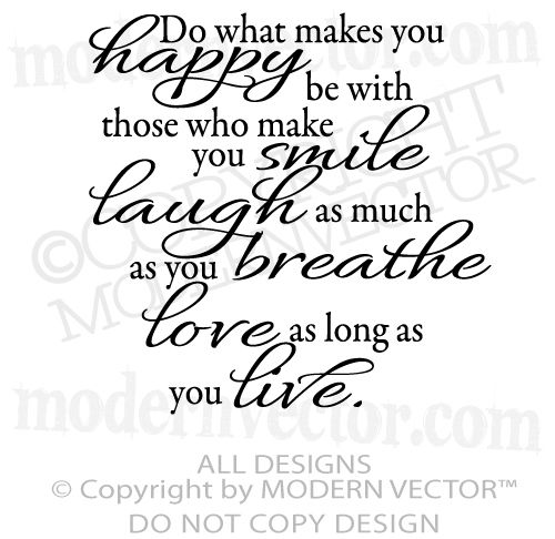 Happy Smile Laugh Live Love Breathe Quote Vinyl Wall Decal Awesome Smile Laugh Love Quotes
