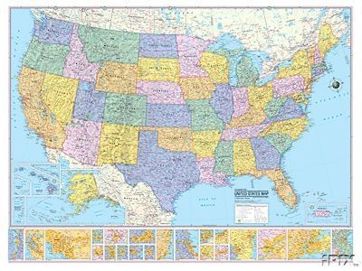36X48 Hammond United States US USA Large Wall Map Mural
