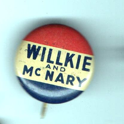 Old 1940 Pin Willkie McNary Pinback Button Lost to FDR Green Duck