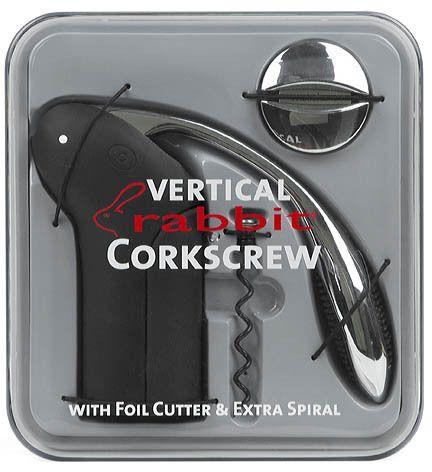 Metrokane 6904 Vertical Rabbit Corkscrew Wine Opener Gun Metal Grey
