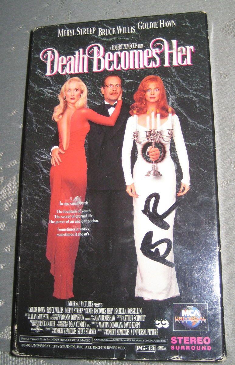 Death Becomes Her VHS Movie Meryl Streep Bruce Willis Goldie Hawn Bruce Willis