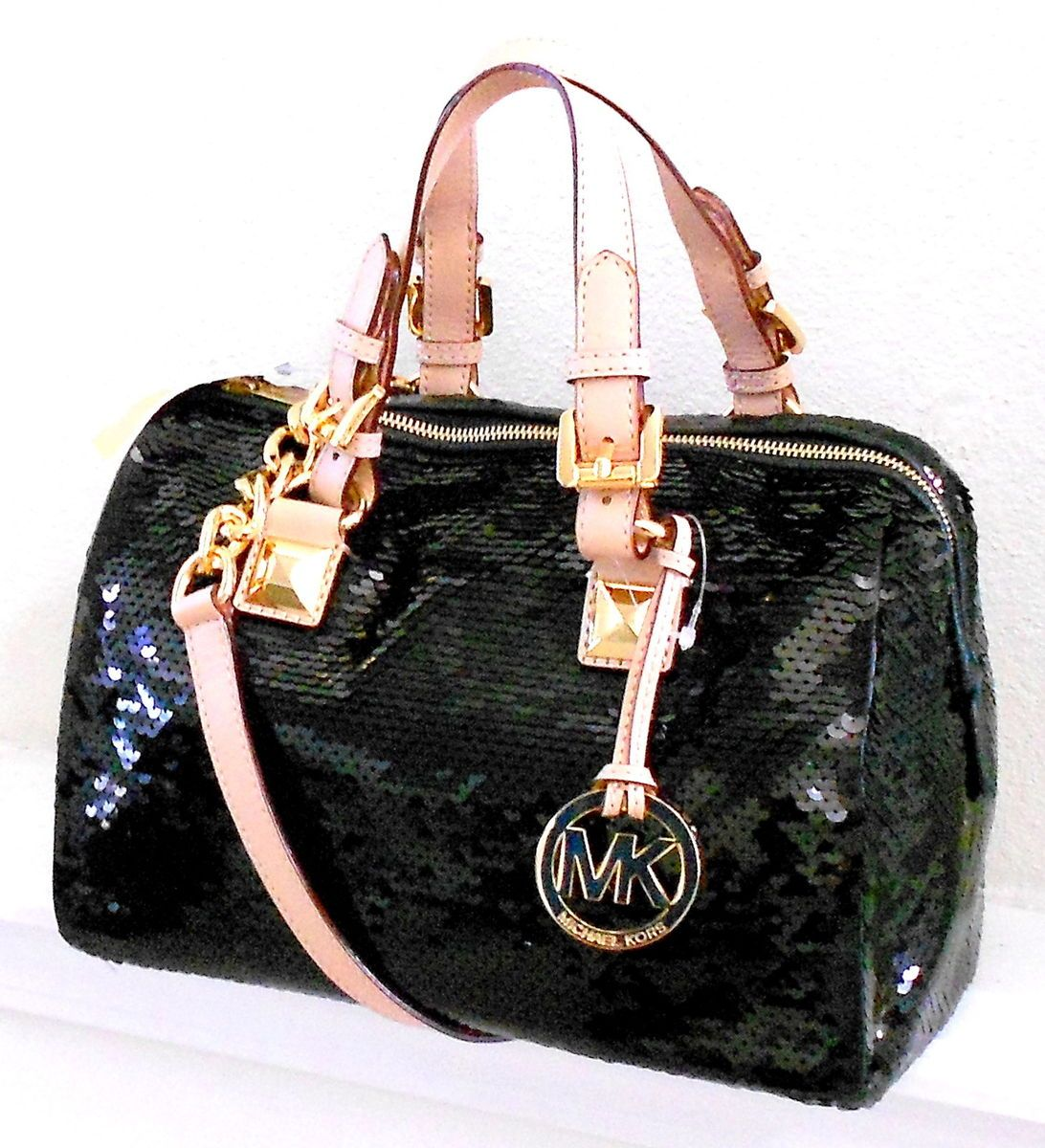 Michael Kors Grayson Sequin Satchel Purse Handbag Black