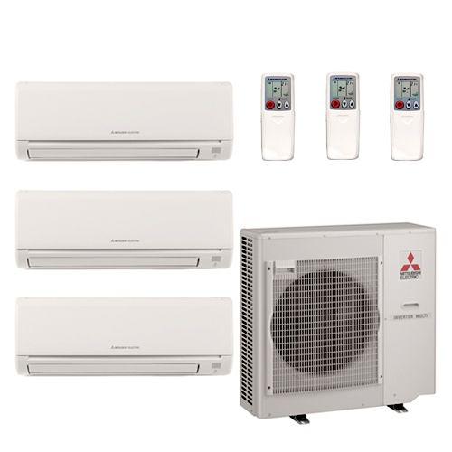 36 000 BTU 18 SEER Tri Zone Mini Split Heat Pump A C System 09 12 15
