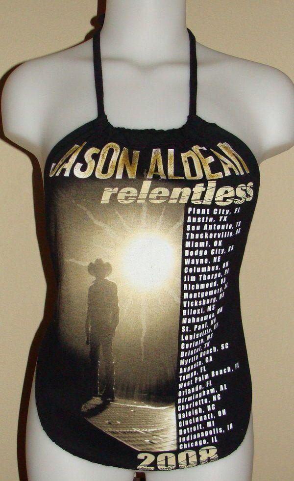 Jason Aldean Reconstructed Concert Tour Shirt Halter Top DiY Small