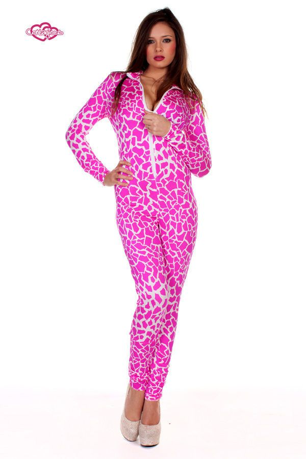 Contagious Clubwear Nicki Minaj Giraffe Pink Catsuit UK 6 14 Costume