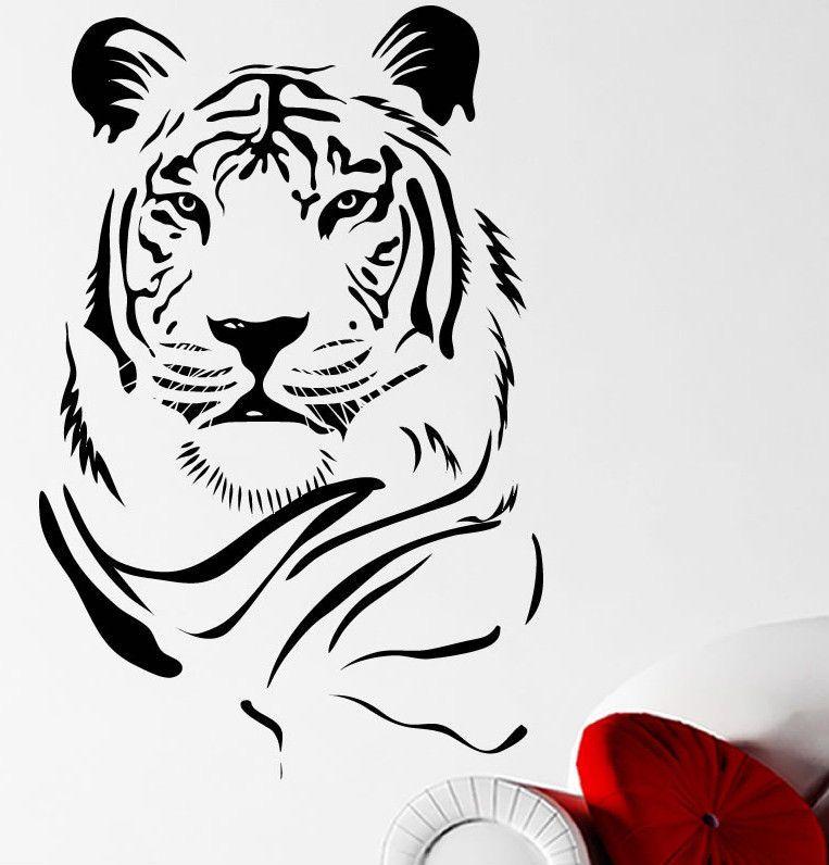 Tiger Head Big Cat Stripes Wall Sticker Decal Transfer 22 Colour