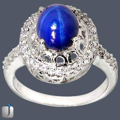 44cts BLUE STAR SAPPHIRE TOPAZ PRONG SET 6 RAY 925 SILVER RING size
