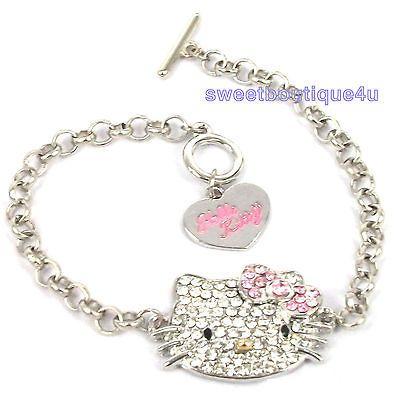 PINK BOW Cute HelloKitty cat CRYSTAL Charm bracelet for Girl Kid best