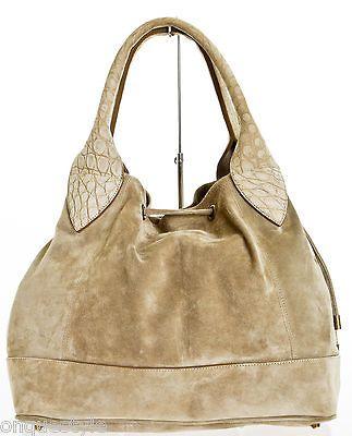 Brunello Cucinelli Taupe Suede With Embossed Handle Shoulder Handbag