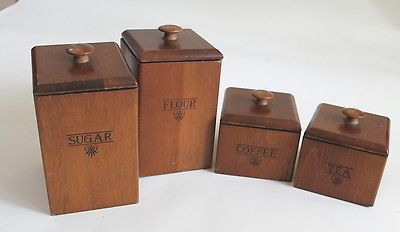 vintage kitchen canister set of 4 wood coffee tea flour sugar wooden cover kitchen canister set buy wooden canister