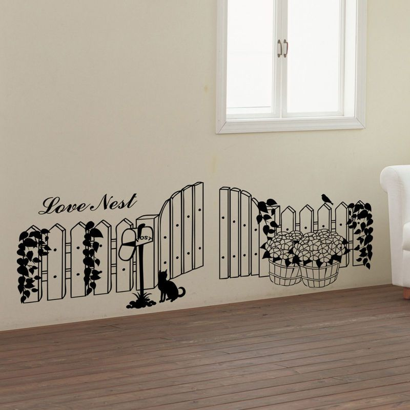 Flower Fence Adhesive Removable Wall Decor Accents Graphic Stickers