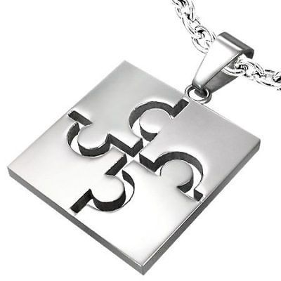 Puzzle Piece Autism Awareness Square Pendant Necklace 2
