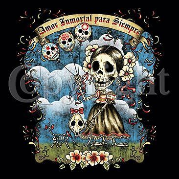 DIA DE LOS MUERTOS AMOR LOVE FOREVER LADIES T SHIRT DAY OF THE DEAD