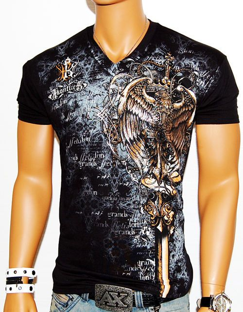 NWT MENS CONFLICT BLACK DESIGNER V NECK T SHIRT MUSCLE MMA UFC CLUB