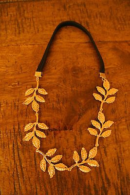 GRECIAN BOHO VINTAGE GOLD LEAF BEAD CHAIN HEADBAND WEDDING BRIDAL HAIR
