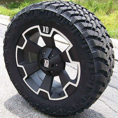 BLACK RIMS TIRES CHEVY GMC HUMMER H2 38 13.50 24 NITTO TRAIL MT XD