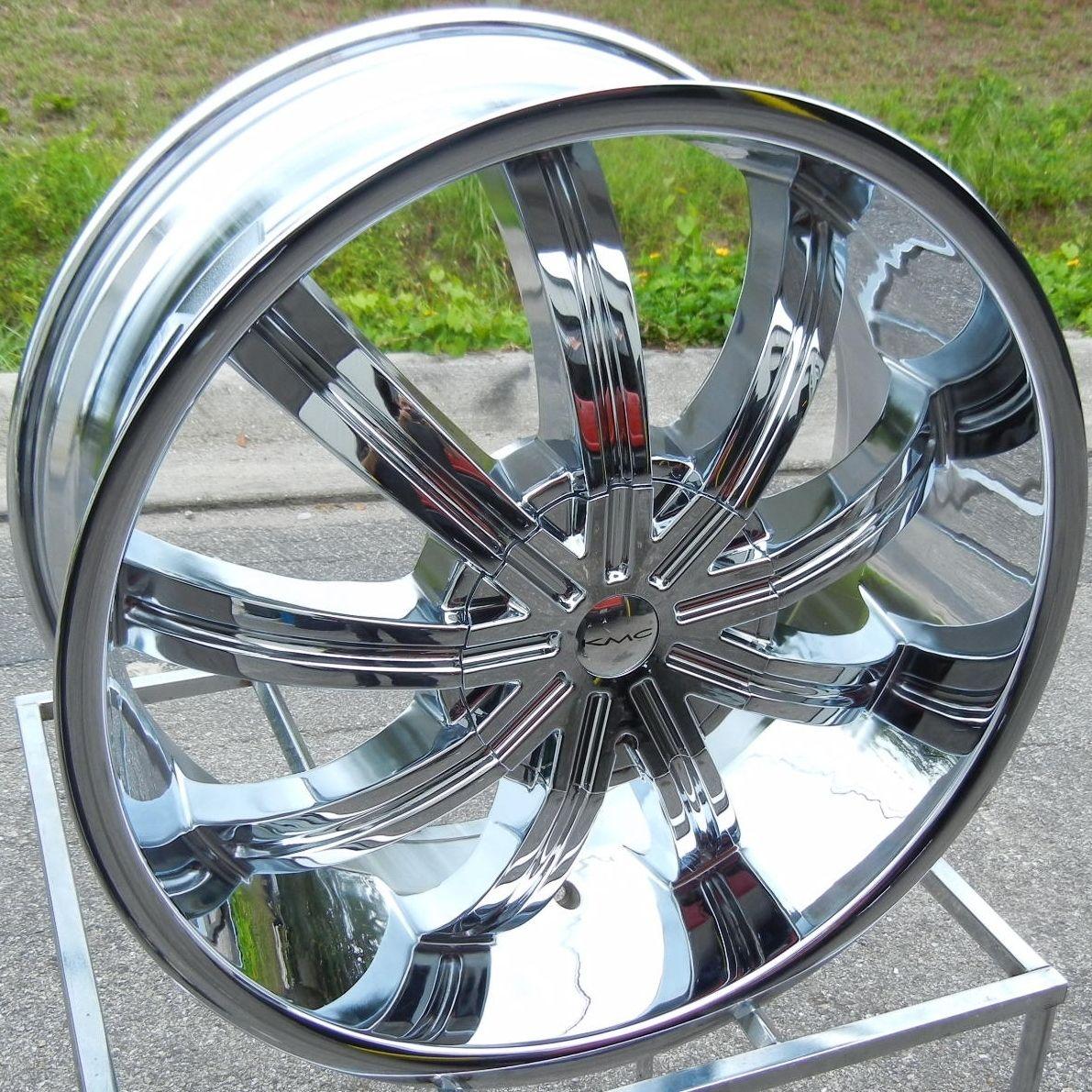 22 Chrome KMC Widow Wheels Rims Escalade Chevy Avalanche GMC Sierra