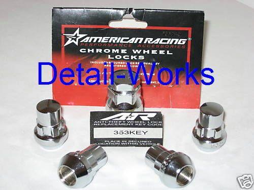 American Racing Chrome Wheels Rims Lock Set 12x1 50 New