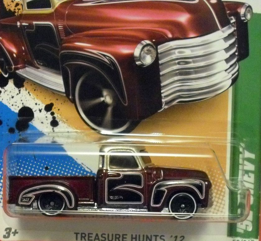 Lot of 2 2012 Hot Wheels Treasure Hunt 52 Chevy Pickup Truck 8 15