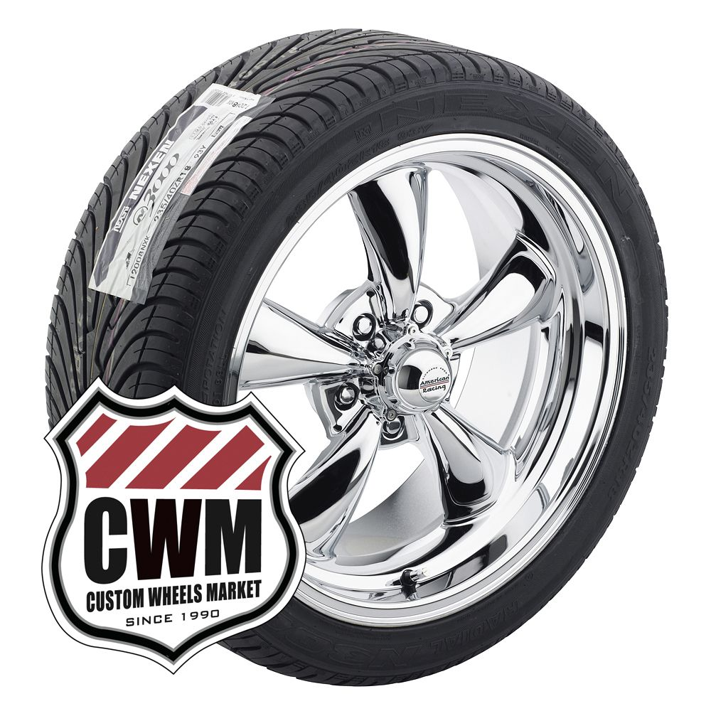 Staggered Chrome Wheels Rims Tires for Chevy rwd Cars 82 92
