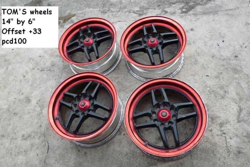 JDM Toyota Toms 14 Wheels Rims PCD100 Starlet TRD EP82