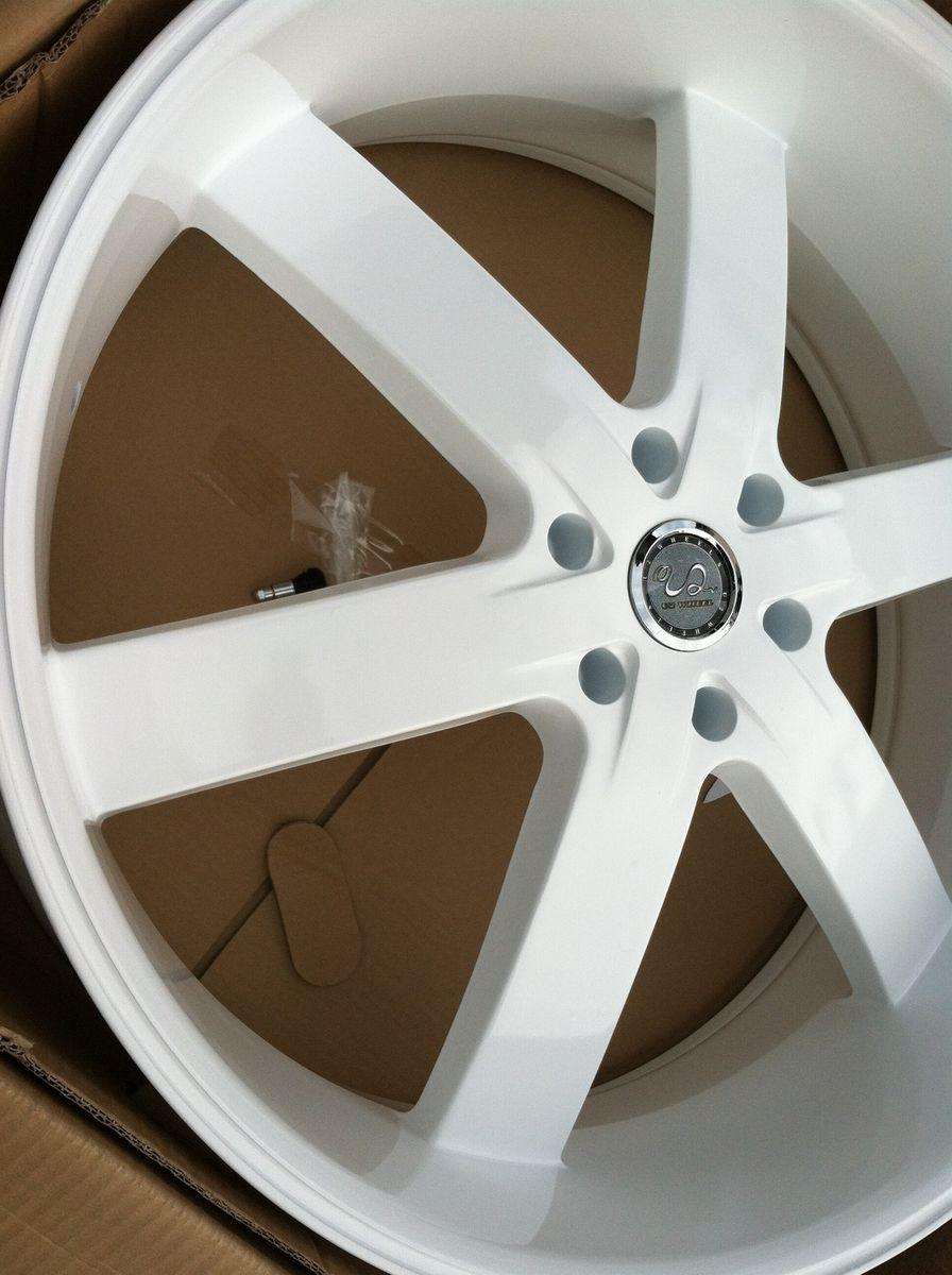 22 Gloss White Rims Tires 6x139 Chevy GMC Titan QX56 Tahoe Yukon